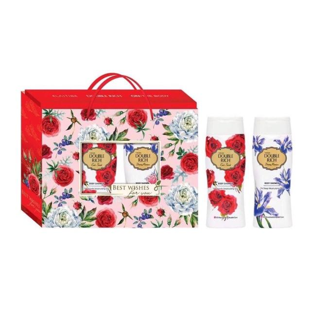 Hộp quà sữa tắm dưỡng da Double Rich: Hương hoa Iris Dreamy Romance 200ml và hương hoa hồng Eva's Secret 200ml