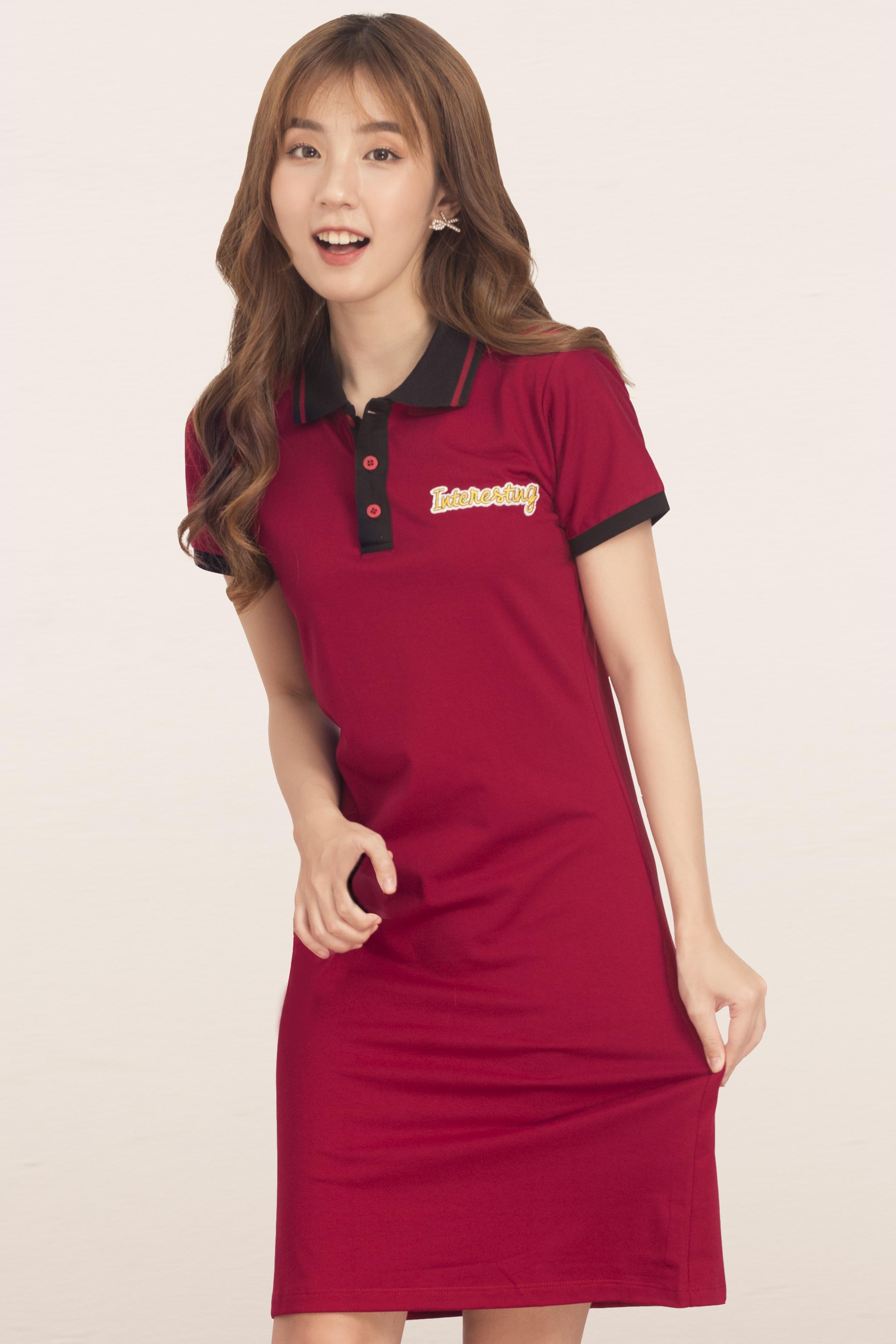 Hình ảnh Đầm suông GUMAC  cho nữ có phối màu cổ bẻ thun co giãn nhẹ chất liệu cotton DA514