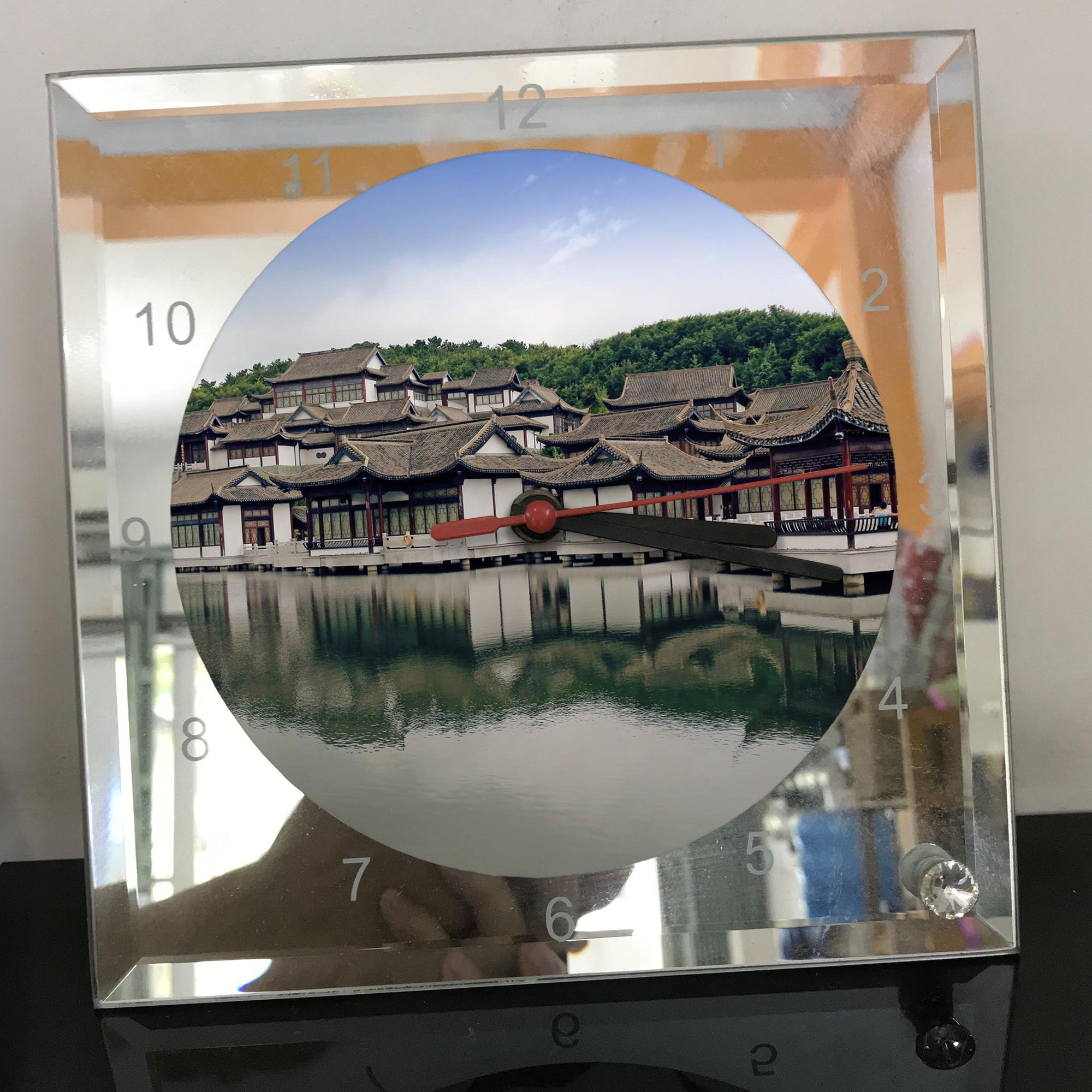 Đồng hồ thủy tinh vuông 20x20 in hình Temple - đền thờ (41) . Đồng hồ thủy tinh để bàn trang trí đẹp chủ đề tôn giáo