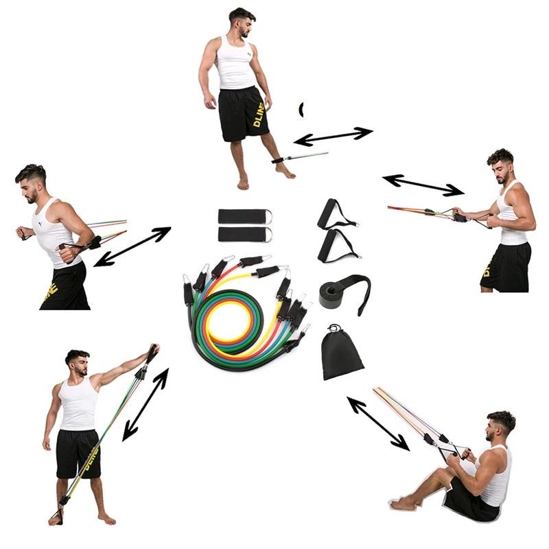 Combo Bộ Dây Cao Su Đàn Hồi Ngũ Sắc Tập Gym Tại Nhà  và Kìm Bóp Cơ Tay 5-60kg + (Tặng kèm dây nhảy và massage mini) Màu Ngẫu Nhiên Dành Cho Mọi Lứa Tuổi