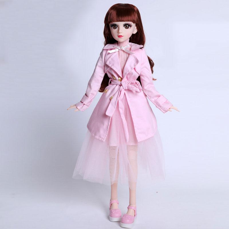 Búp Bê Mắt Ngọc Cao 60 Cm 18 Khớp Mắt Ngọc - Sét Váy Áo Jacket Hồng Sành Điệu