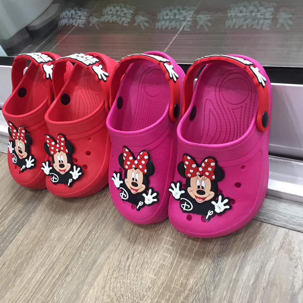 Dép sục Thái Lan cao cấp siêu nhẹ hình chuột Mickey cho bé gái dễ thương có quai hậu chống trơn trượt màu hồng đậmHNM226B