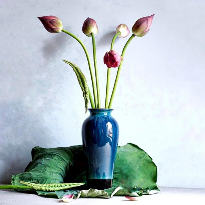 Lọ hoa gốm sứ - Lọ Đùi Dế Cao - Gốm sứ Bát Tràng -  Trang trí nhà cửa