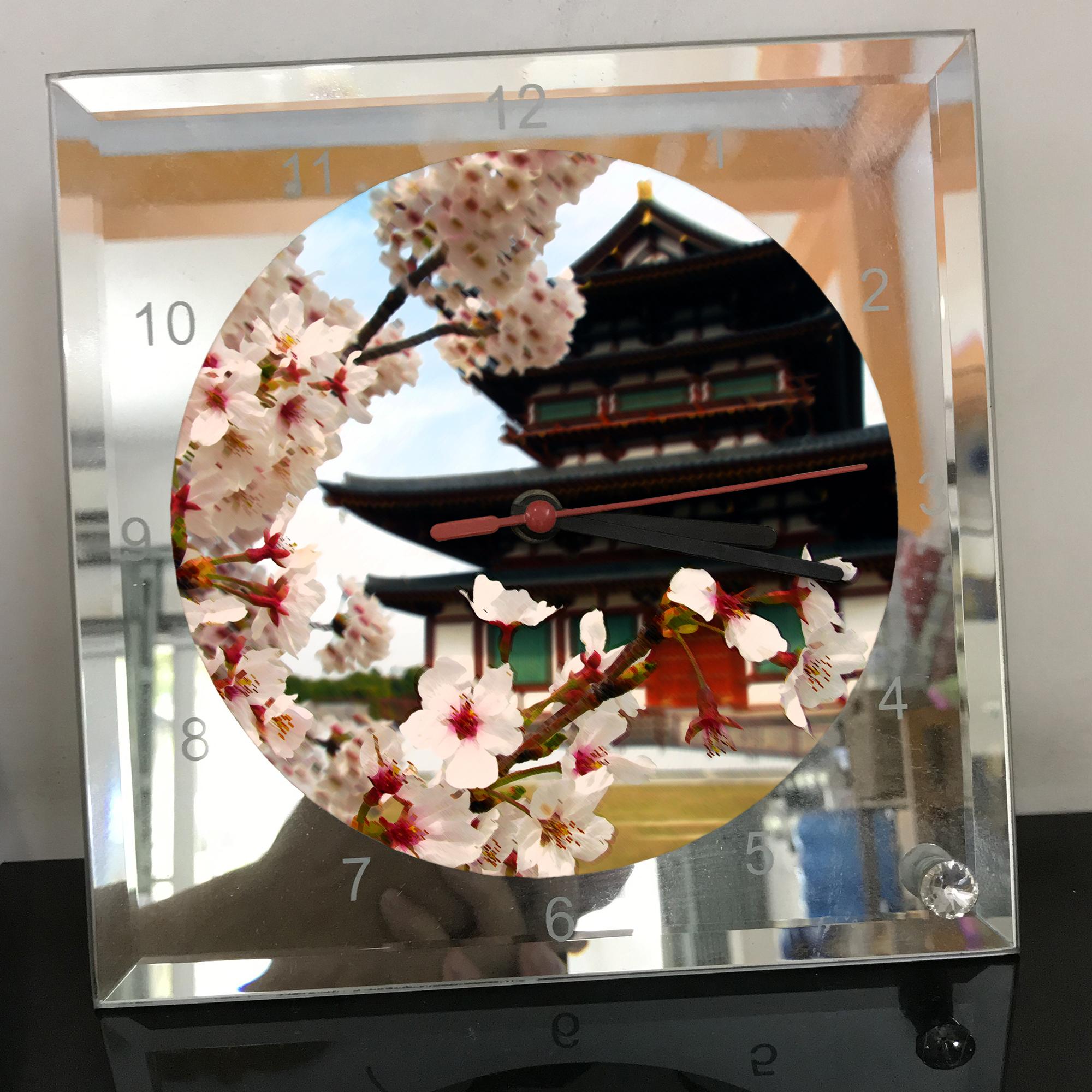 Đồng hồ vuông thủy tinh 20x20 in hình Temple - đền thờ (22) . Đồng hồ thủy tinh để bàn trang trí đẹp chủ đề tôn giáo