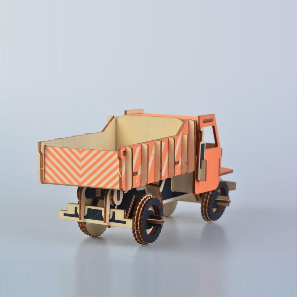Đồ chơi lắp ráp gỗ 3D Mô hình Xe tải Dump Truck Laser XB-G006H