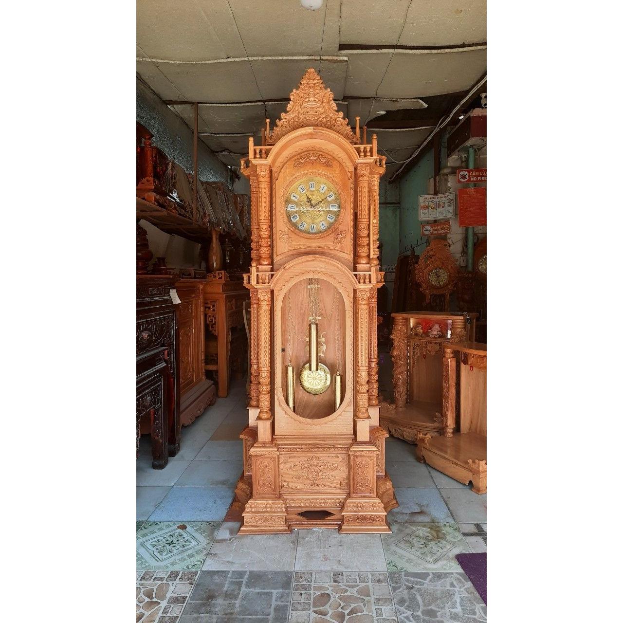 Đồng hồ cây mẫu tháp trụ, gỗ gõ đỏ 2m30