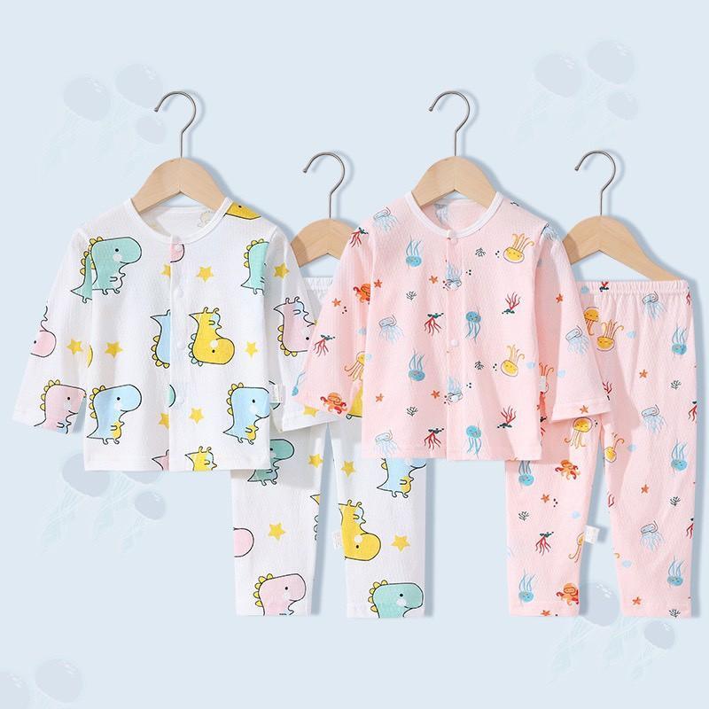 Bộ dài tay điều hòa thông hơi mỏng mát hàng Quảng Châu cho bé trai bé gái mặc hè thu