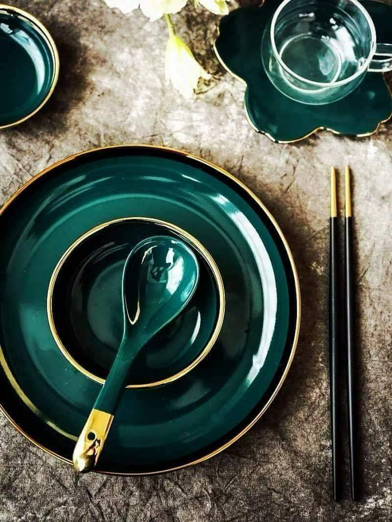 Set bát xanh green 26 chi tiết dành cho gia đình 4-6 người ăn