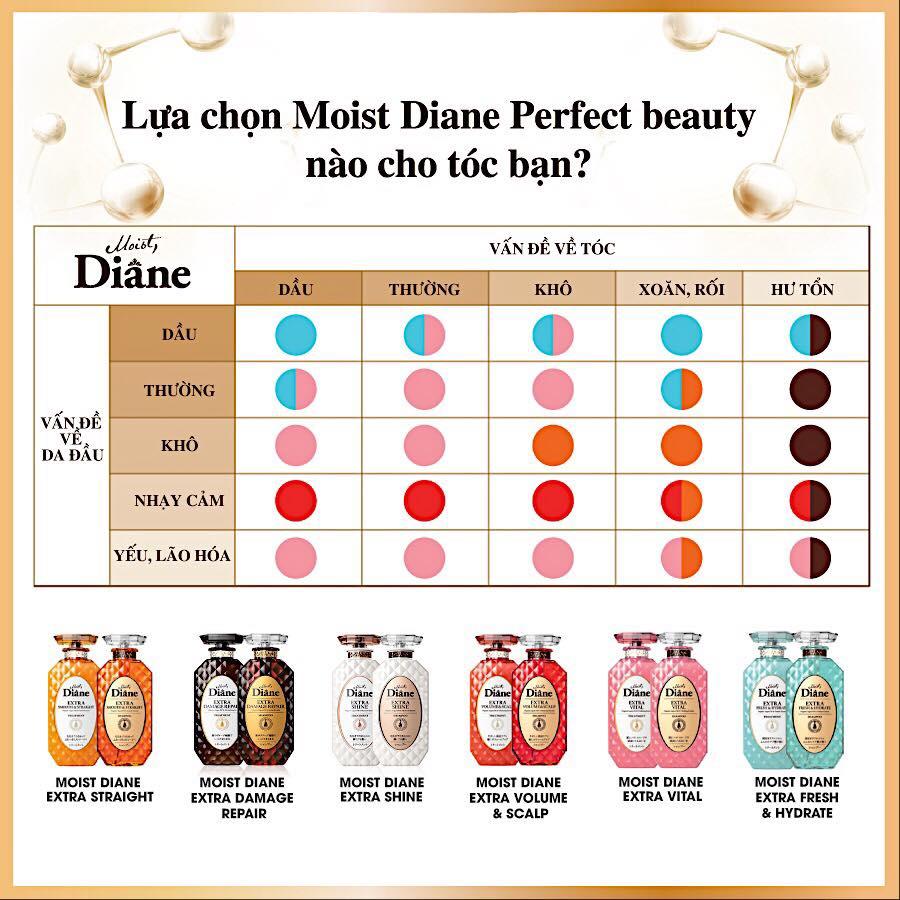 Cặp gội/xả Moist Diane Extra Straight giúp vào nếp, suôn mượt Hàn Quốc (2x450ml) - Dành cho tóc khô,quăn tặng kèm móc khoá