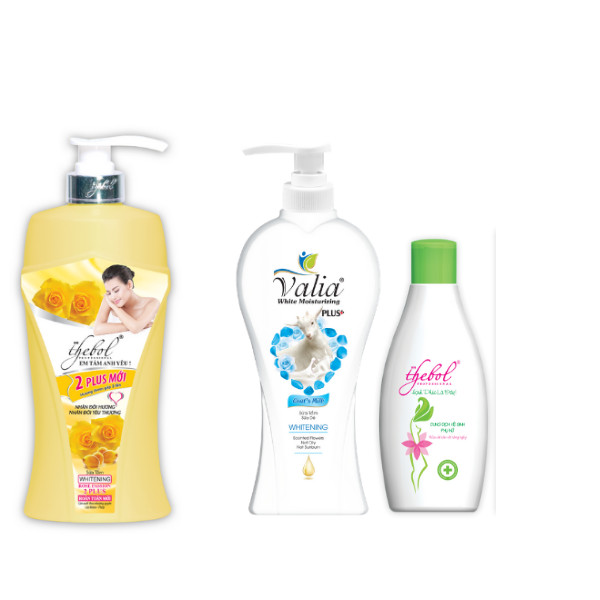 Combo sữa tắm Vitamin E Thebol 1.200g + Sữa tắm sữa dê Valia 400g + Dung dịch vệ sinh phụ nữ cao cấp Thebol 200ml