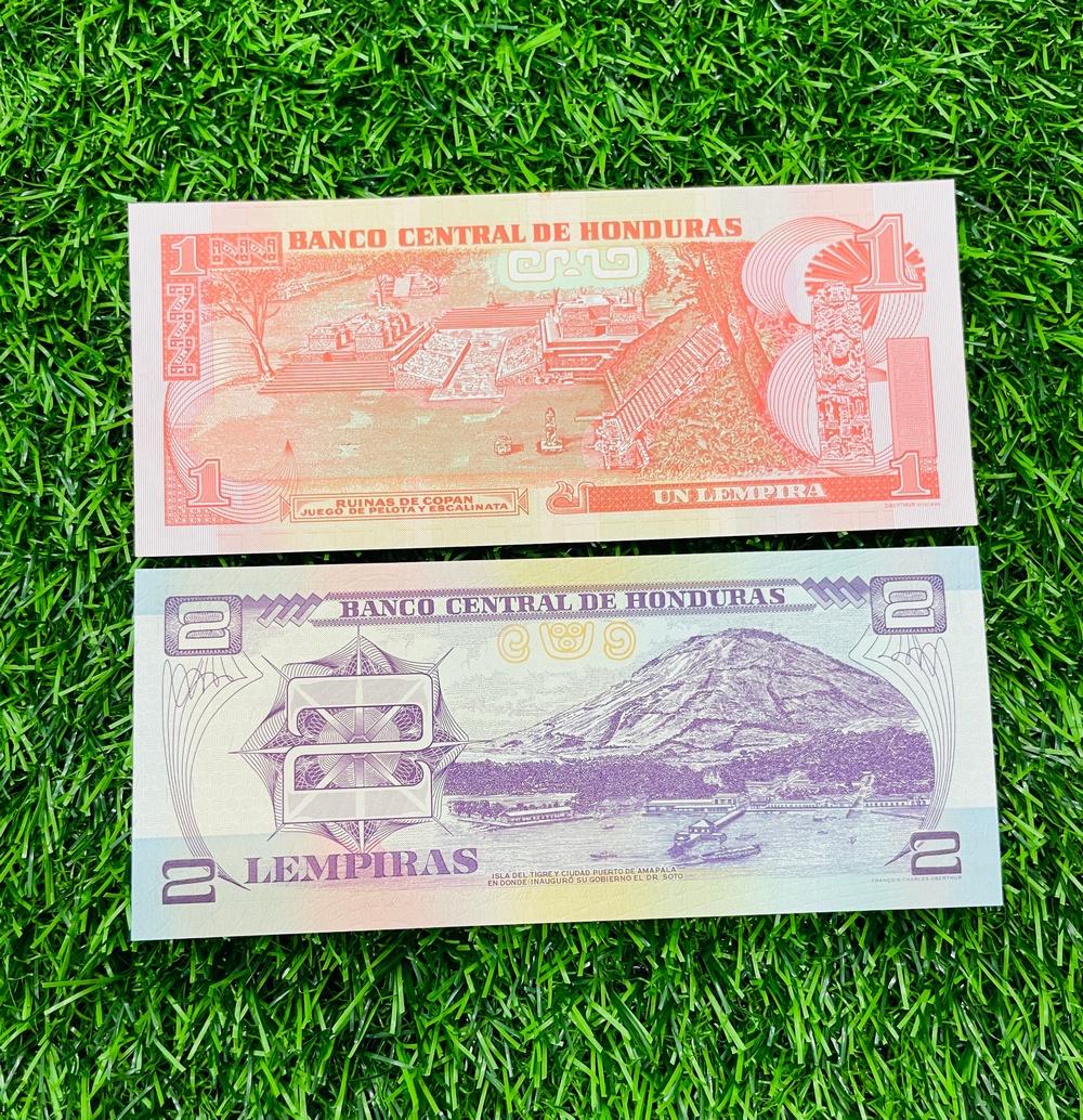 Combo 2 tờ tiền Honduras 1 2 Lempiras, ở Nam Mỹ, mới 100% UNC, tặng túi nilon bảo quản