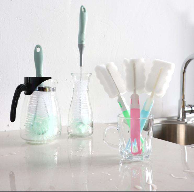 Combo 2 dụng cụ cọ rửa cốc ly, vệ sinh bình sữa cho bé có tay cầm tiện ích - giao màu ngẫu nhiên
