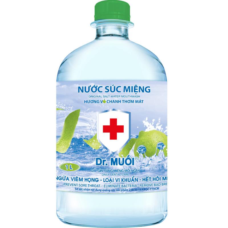 Nước Súc Miệng Dr. Muối Hương Vỏ Chanh được làm từ 100% muối biển tự nhiên 1000 ml  + Tặng 1 gói Cà Phê Muối THƠM NGON