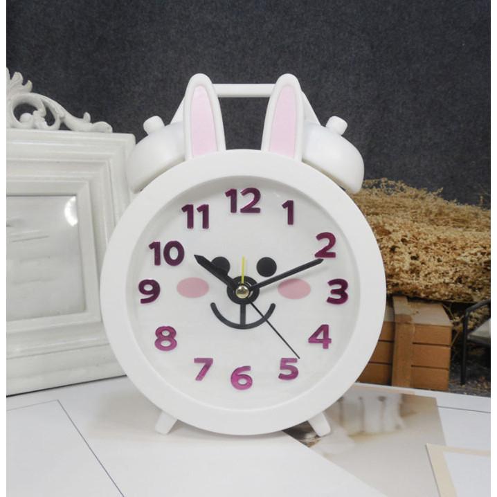 Đồng hồ báo thức để bàn nhựa thỏ trắng 14x18cm