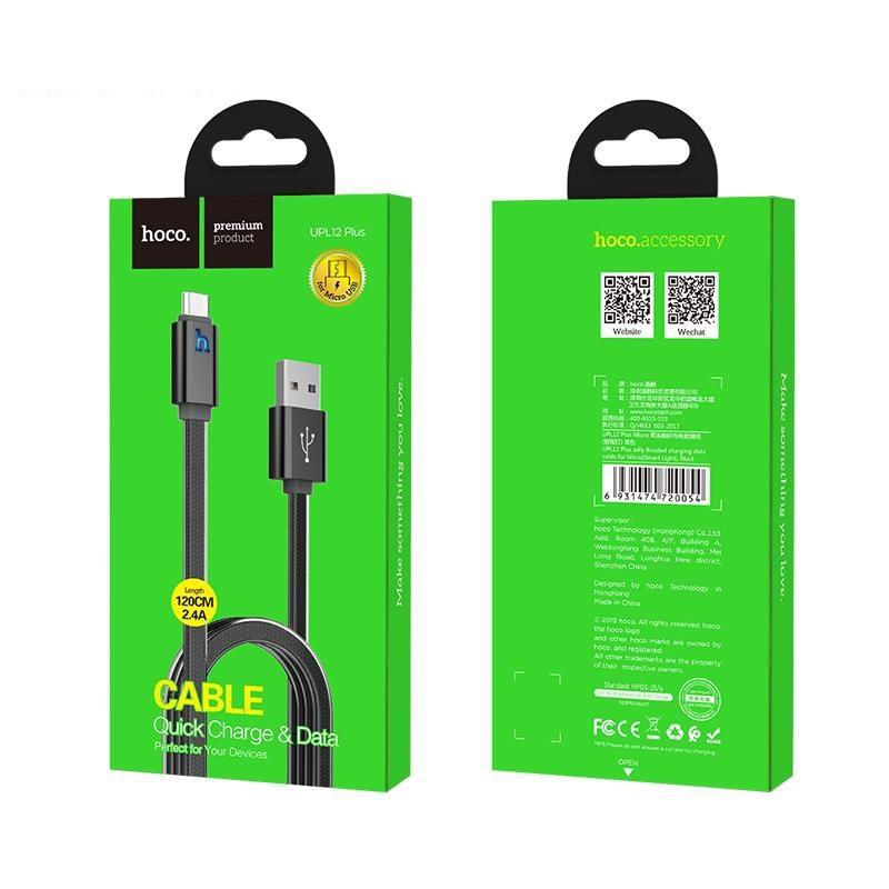 Cáp Sạc Hoco UPL12 Plus Micro USB (dòng máy Oppo F7, Xiaomi Redmi Note 5,Samsung A7...)  Sạc Nhanh 1,2m - Giao Màu Ngẫu Nhiên - Hàng Nhập Khẩu