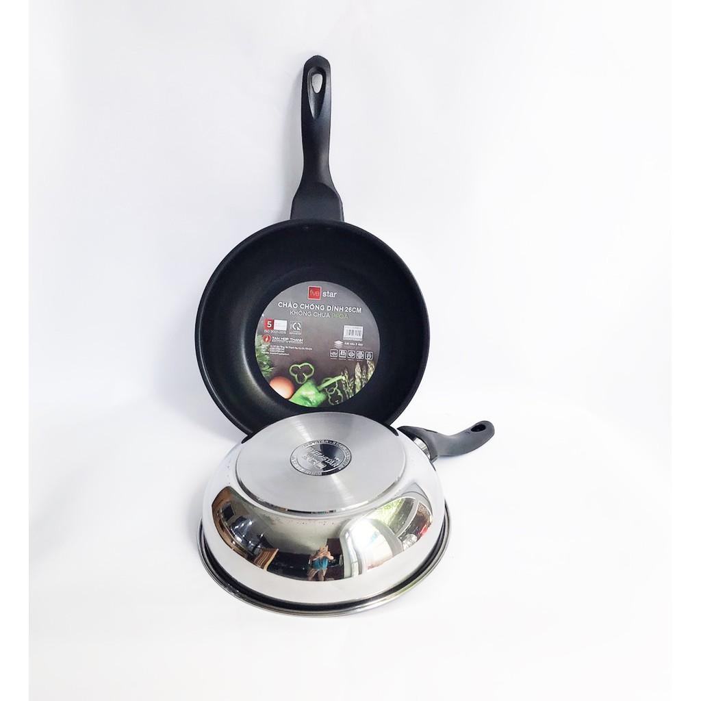 Chảo inox chống dính sâu lòng có nắp kính cao cấp Fivestar 24cm , 26cm  , tặng 1 sạn dừa , tay cầm cách nhiệt