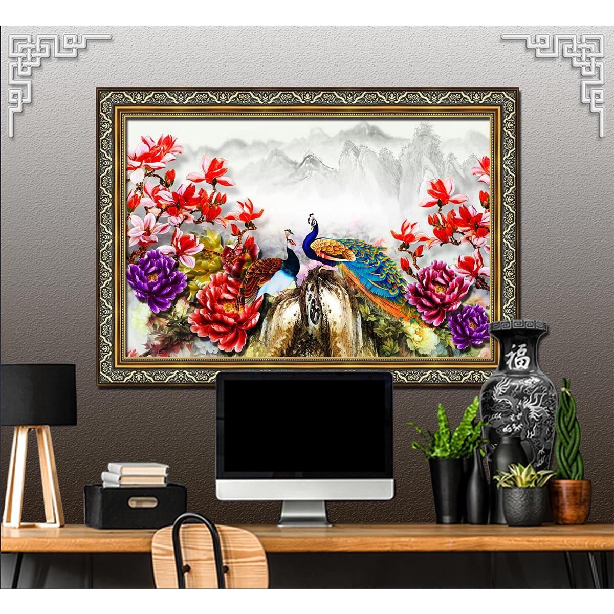 Bức tranh khung hoàn thiện - CHIM CÔNG, PHƯỢNG HOÀNG chất liệu in vải lụa hoặc giấy ảnh bóng gương Mã số: 3628L8