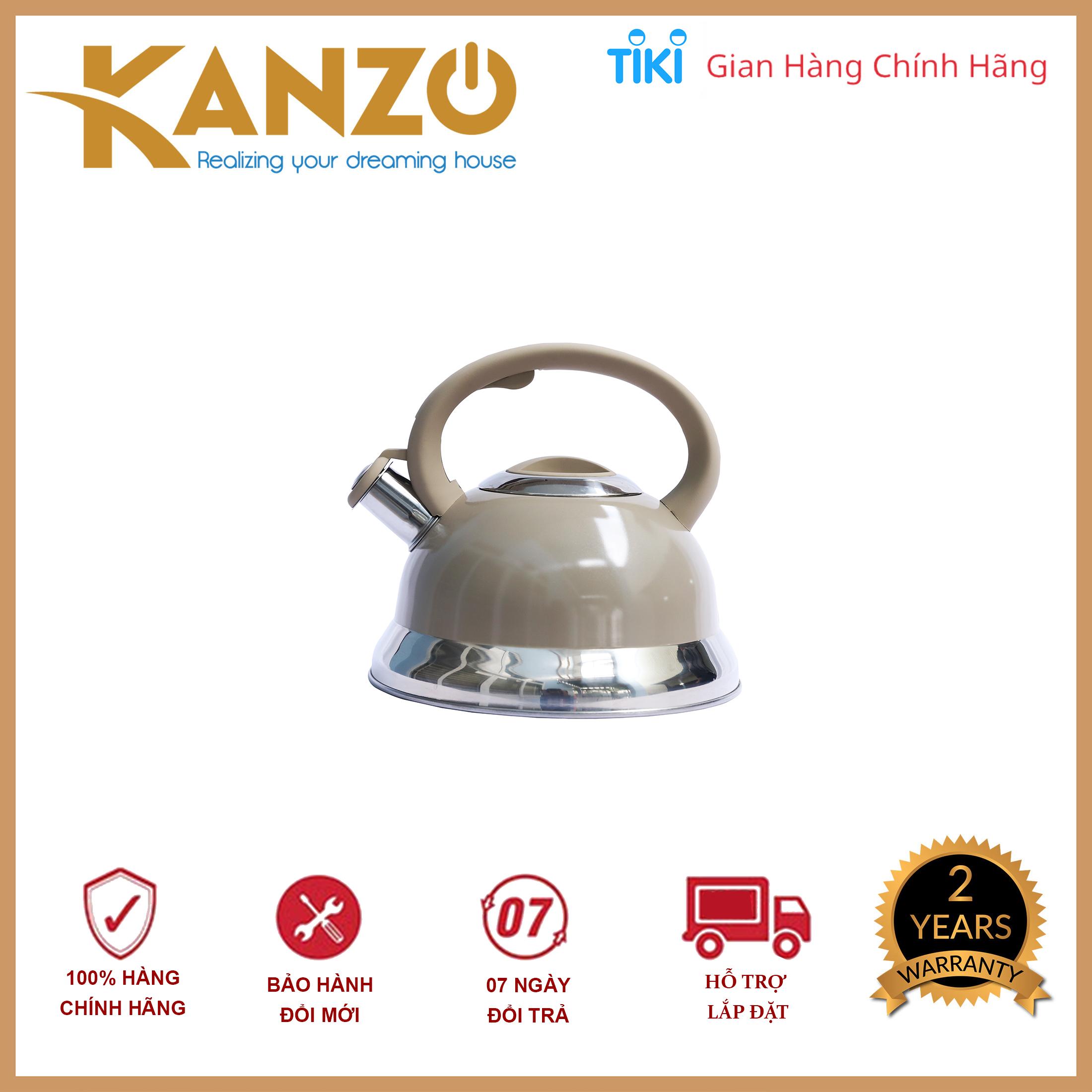 Ấm đun nước bếp từ Kanzo KZ-G58 còi báo Inox 304 - Hàng chính hãng - Chất lượng Đức