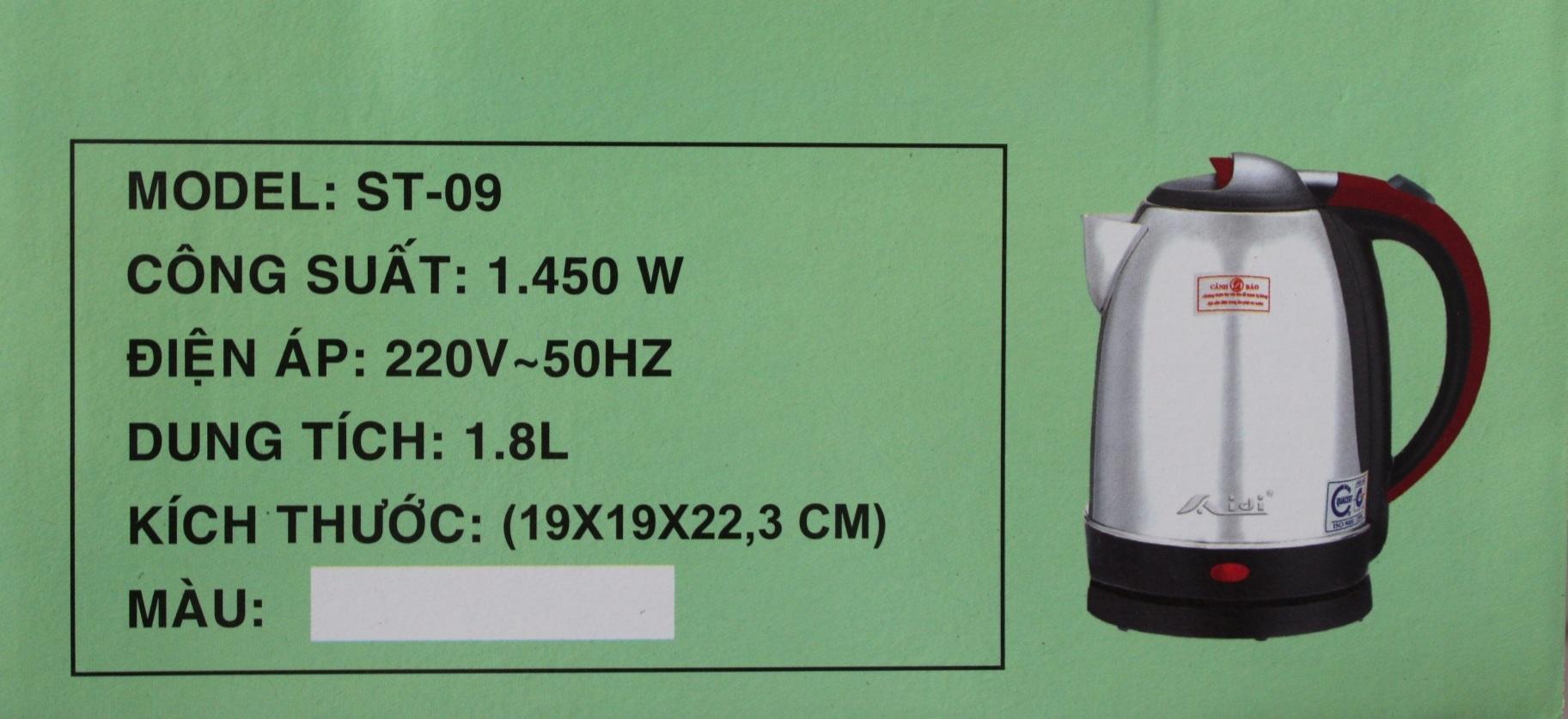 Bình Ấm Điện Siêu Tốc Aidi ST-09 (1,8 lít) - Màu Ngẫu Nhiên - Hàng Chính Hãng