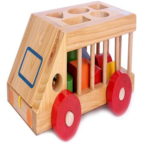 Mô hình ô tô thả hình bằng gỗ cho bé