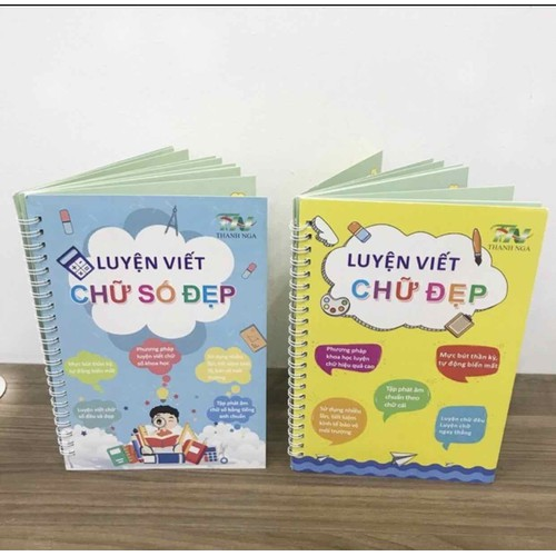 Combo 02 quyển vở luyện viết chữ và số đẹp tự xóa chuẩn tiếng Việt