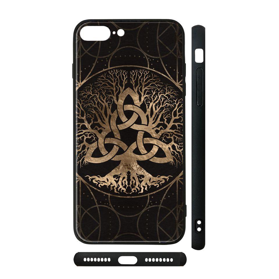 Ốp kính cho iPhone in hình Tree of life Yggdrasil - AVG-0x10166 có đủ mã máy - iPhone X - XS