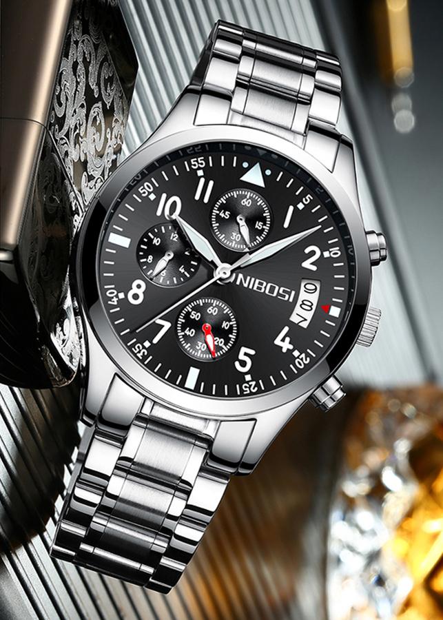 Đồng hồ nam NIBOSI 2303 dây thép đúc chạy 6 kim size 40mm JS-2303