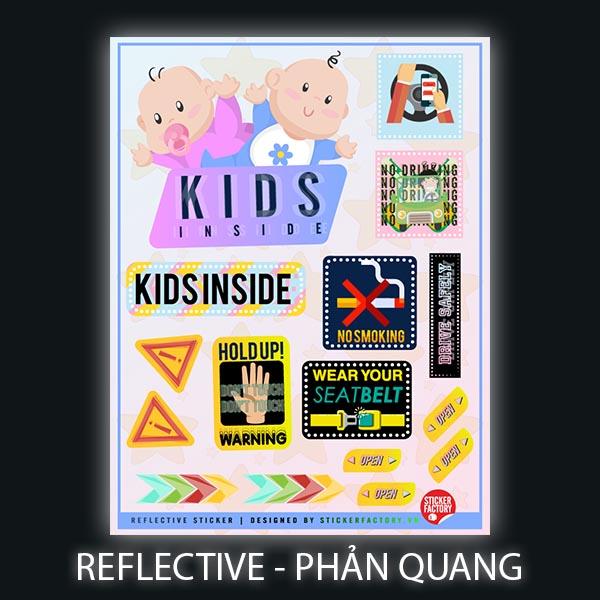 Kids inside - Reflective Sticker hình dán phản quang Premium