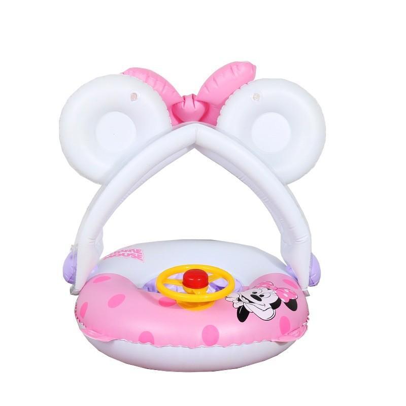 Phao bơi cho bé chống lật xỏ chân có mái hình Mickey 0-4 tuổi