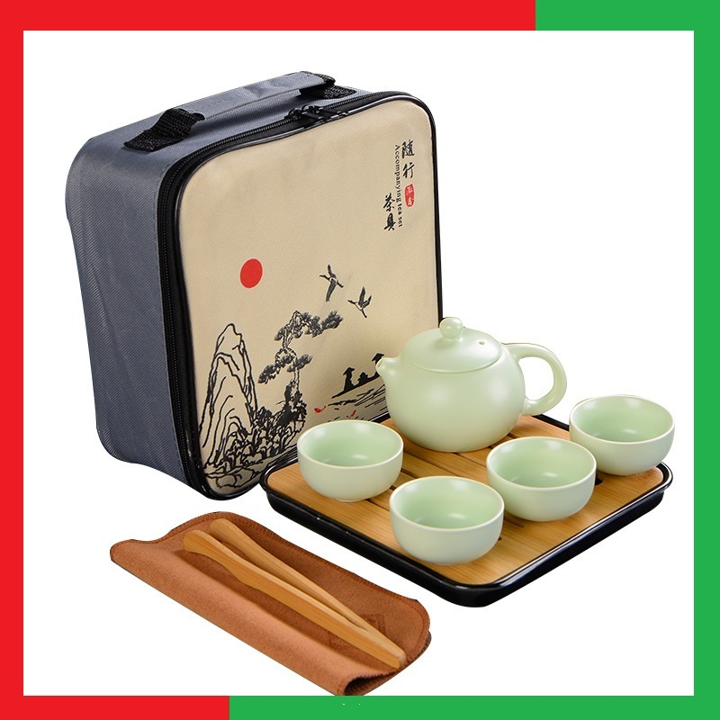 Bộ ấm chén bình trà đạo chất liệu sứ cao cấp, có kèm khay tre, dụng cụ gắp chén và túi hộp đựng, khăn lau nguyên bộ màu khay trắng đen ngẫu nhiên -  Bộ ấm chén uống trà