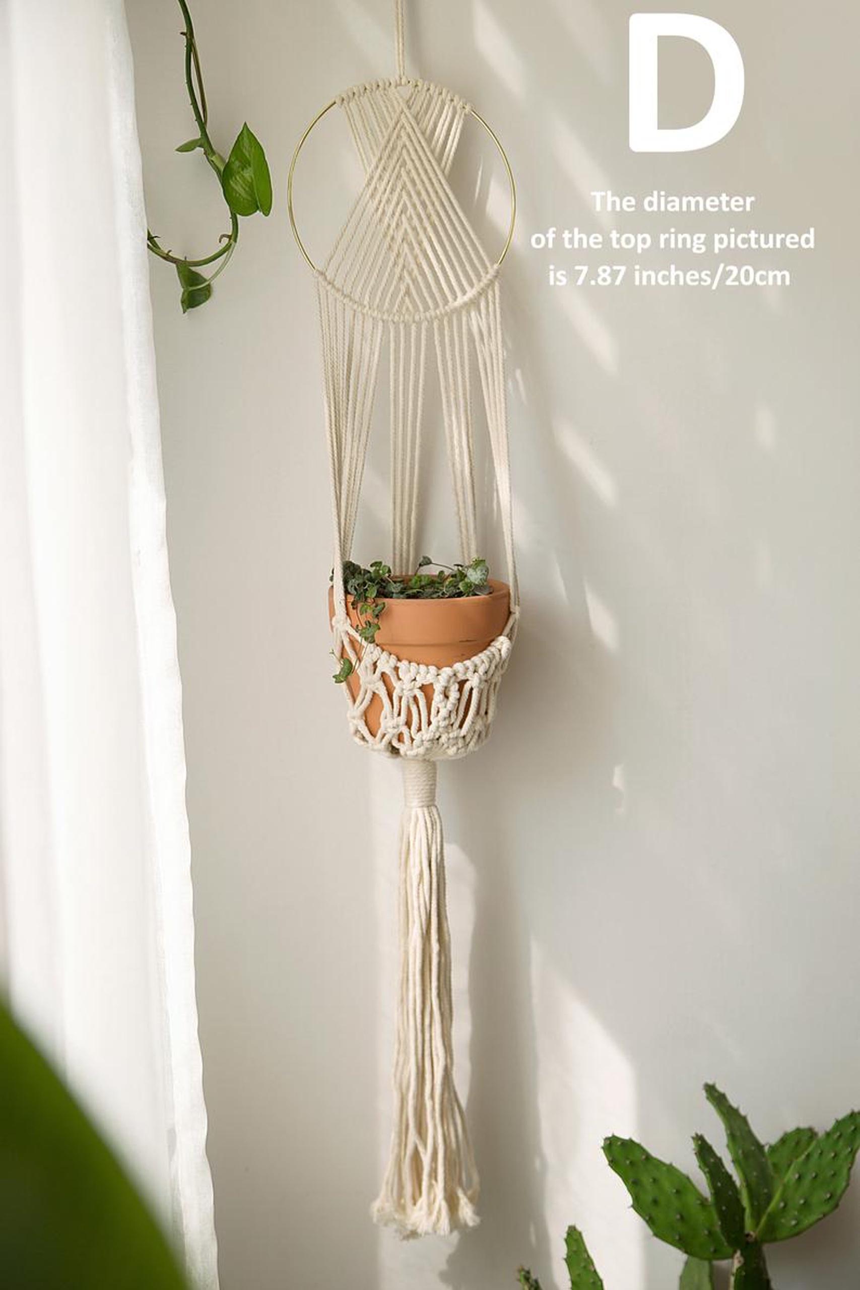 Dây treo trang trí chậu cây cảnh lọ hoa tết thủ công kết hợp vòng tròn đan dây nghệ thuật. GTT18321