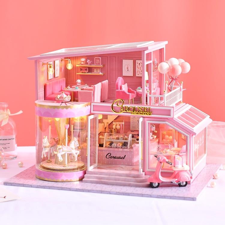 Mô hình nhà DIY Doll House ChildHood Memory Kèm Hộp nhạc và Mica Chống bụi