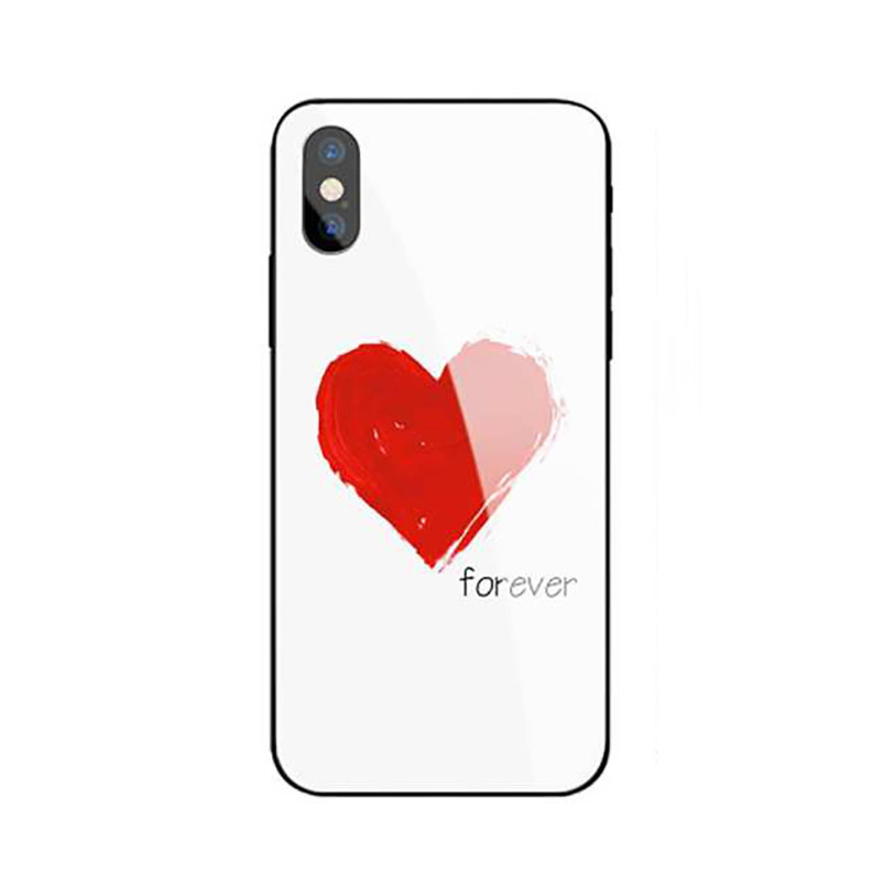 Ốp lưng mặt kính sang trong cho iPhone 78 - Love Forever - trắng - Hàng Chính Hãng