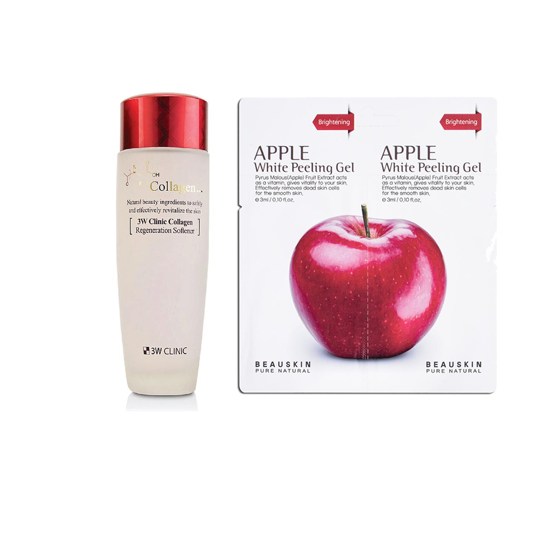 Combo Nước Hoa Hồng Dưỡng Trắng Da Chống Lão Hóa 3W Clinic Collagen Regeneration Softener 150ml và  1 Tẩy da chết SÁNG DA SẠCH MỤN Beauskin Apple White Peeling Mini Size