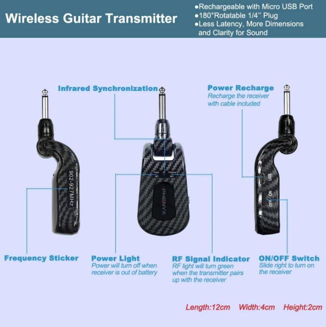 Bộ thu không dây UHF Guitar thương hiệu Phenyx Pro PTG-11 chính hãng với 100 kênh (902 - 928MHz)