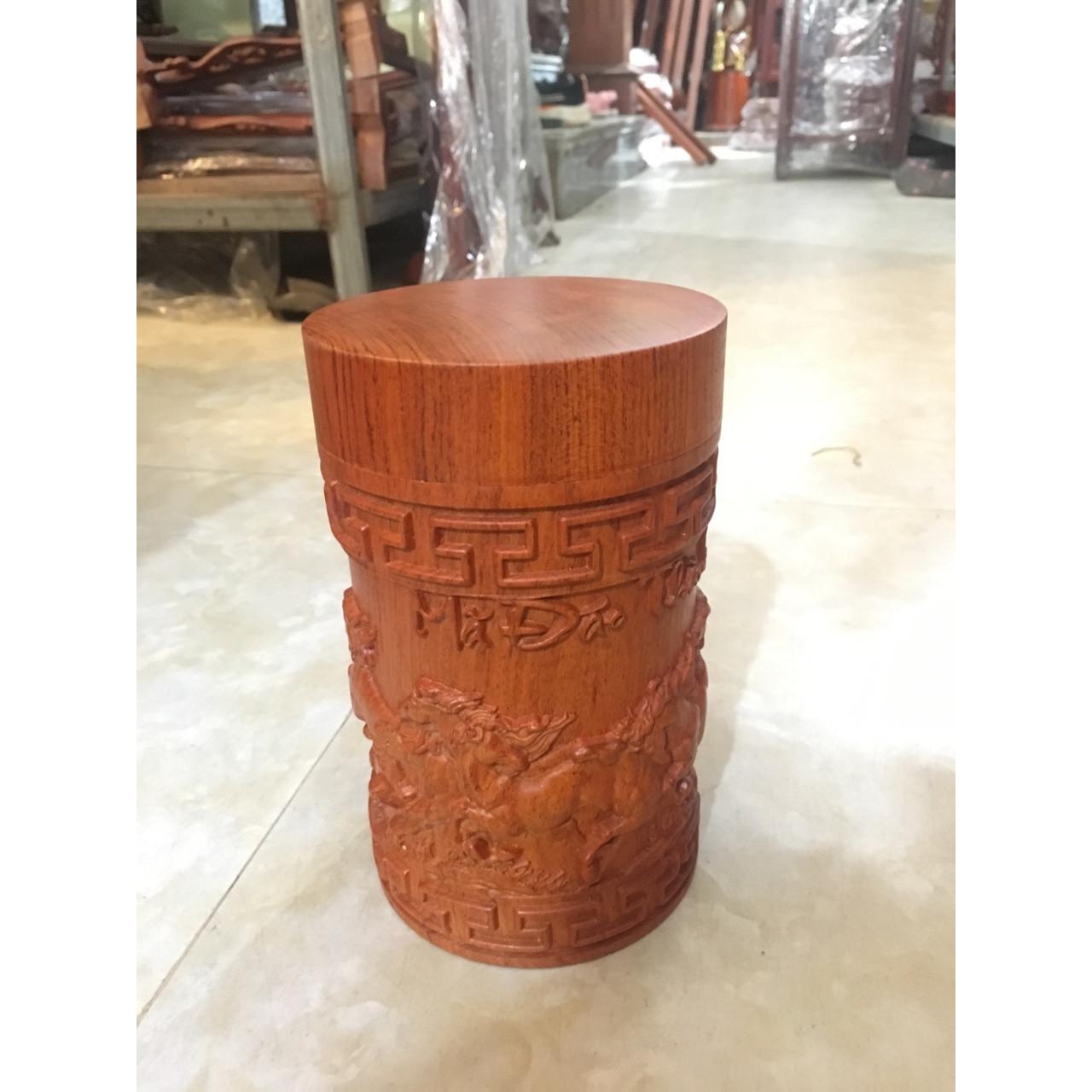 Hộp đựng chè mã đáo thành công gỗ hương cao cấp