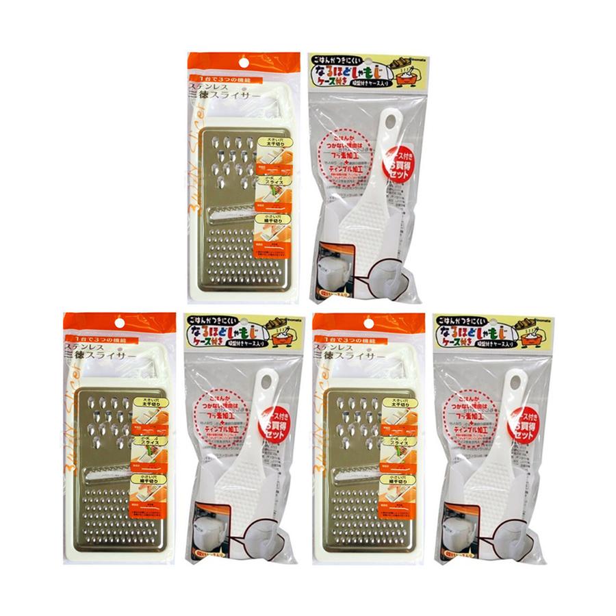 Combo Bàn nạo Inox 3 trong 1  Muôi múc cơm kèm giá đỡ tiện lợi - Nội địa Nhật Bản - 3 combo