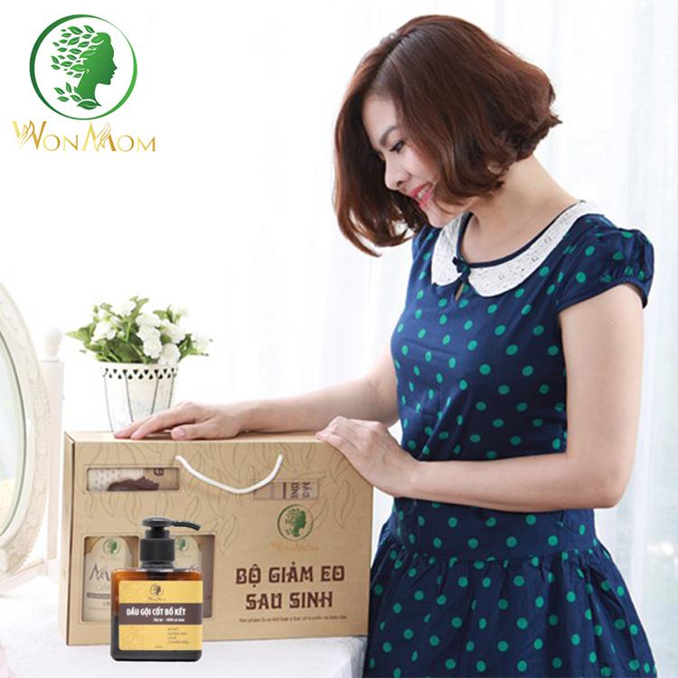 Bộ Dưỡng Thơm Tho Body Và Làm Sạch Cơ Thể Wonmom (1 Dầu Gội Cốt Bồ Kết + 1 Sữa Tắm Thảo Dược)