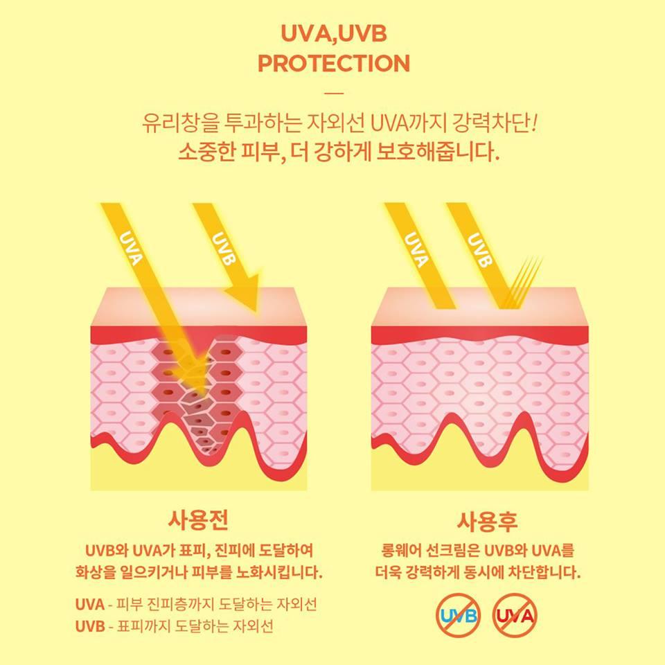 Combo 2 tuýp kem chống nắng mỏng mịn không nhờn dính Verobene Hàn quốc ( 40ml) Kèm bông