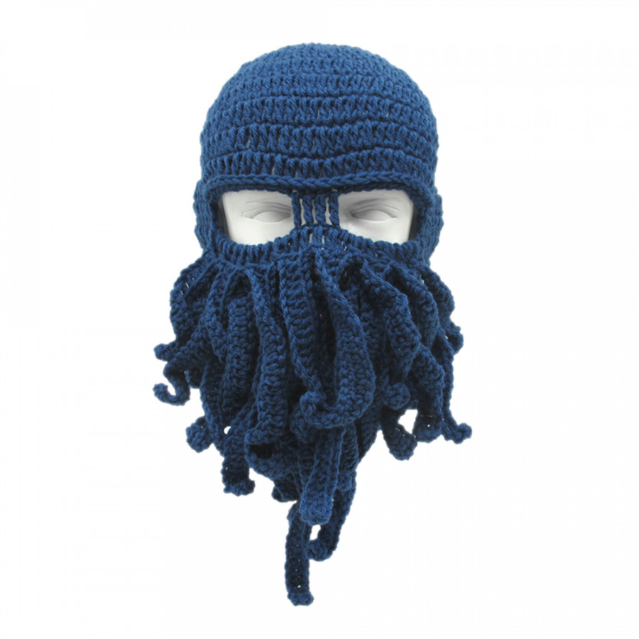 Funny Winter Warm Octopus Mustache Hat Cable Knitted Wool Cap Windproof Skull Ski Caps Cosplay Squid Mask - Blue