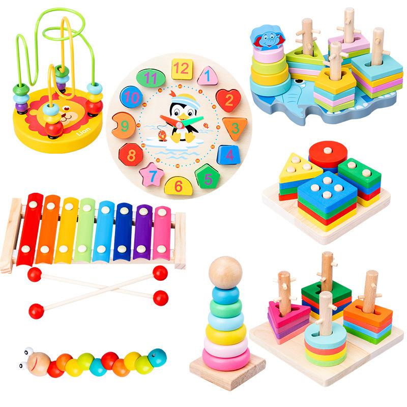 Combo 7 món đồ chơi giáo dục bằng gỗ sơn màu sinh động cho bé phát triển trí tuệ từ sớm - W2011