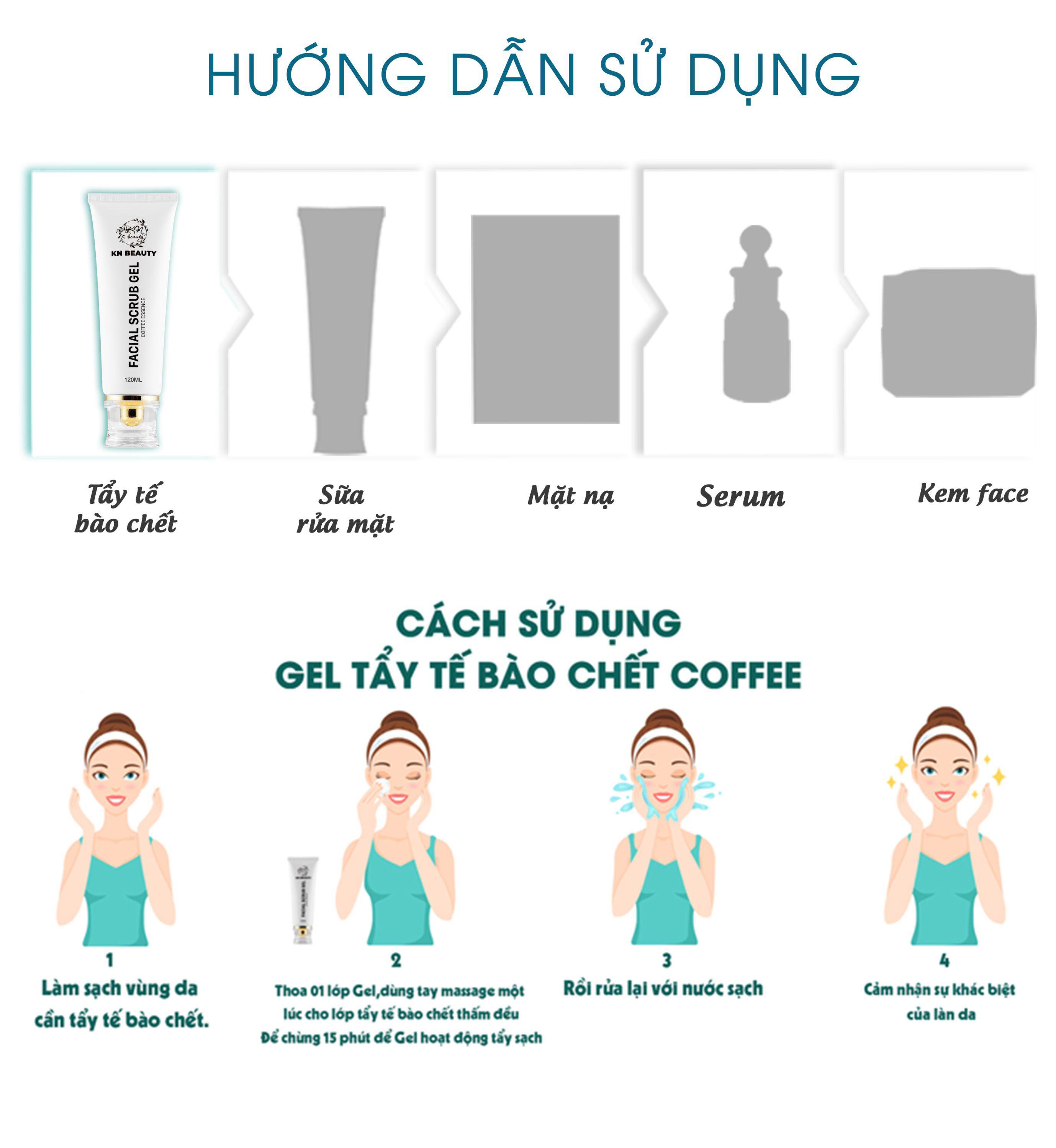 Gel Tẩy Tế Bào Chết Tinh Chất Cà Phê KN Beauty - Facial Scrub Gel 120 ml