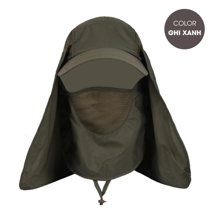 Mũ chống nắng nam vành nhỏ kèm bịt mặt chống tia uv - Hàng chính hãng