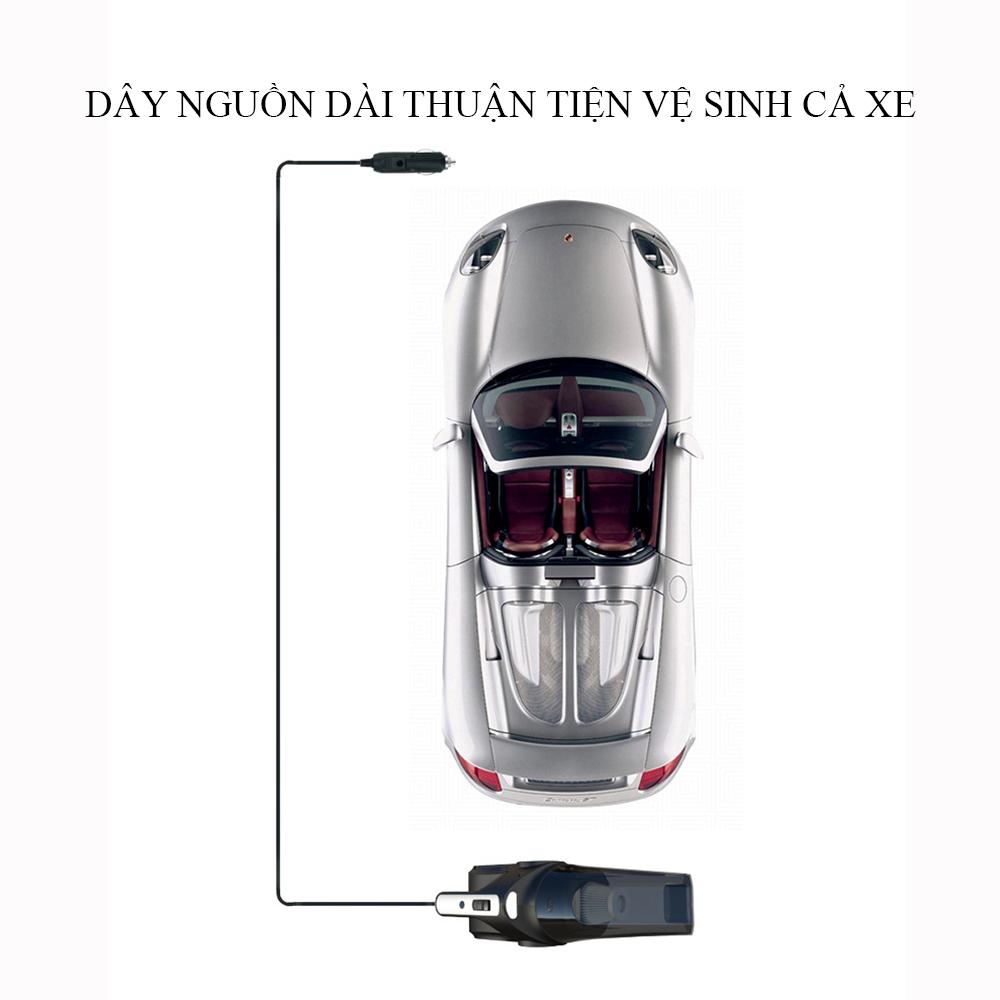 Máy hút bụi cầm tay đa năng giúp bạn dọn dẹp gia đình, vệ sinh ô tô dễ dàng tiết kiệm thời gian. Máy hút bụi đa năng 4 trong 1, hút bụi, bơm hơi lốp xe ô tô, kiểm tra áp suất lốp kèm đèn pin tiện ích.