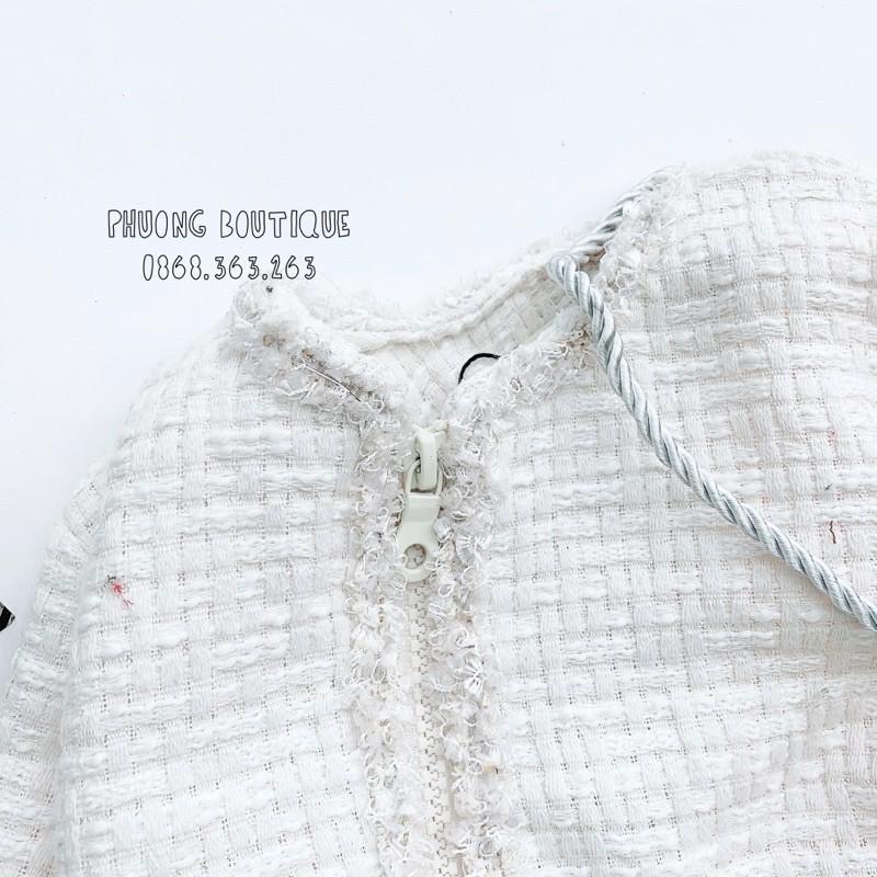 Áo khoác dạ kem phối lông 2 lớp cho bé gái