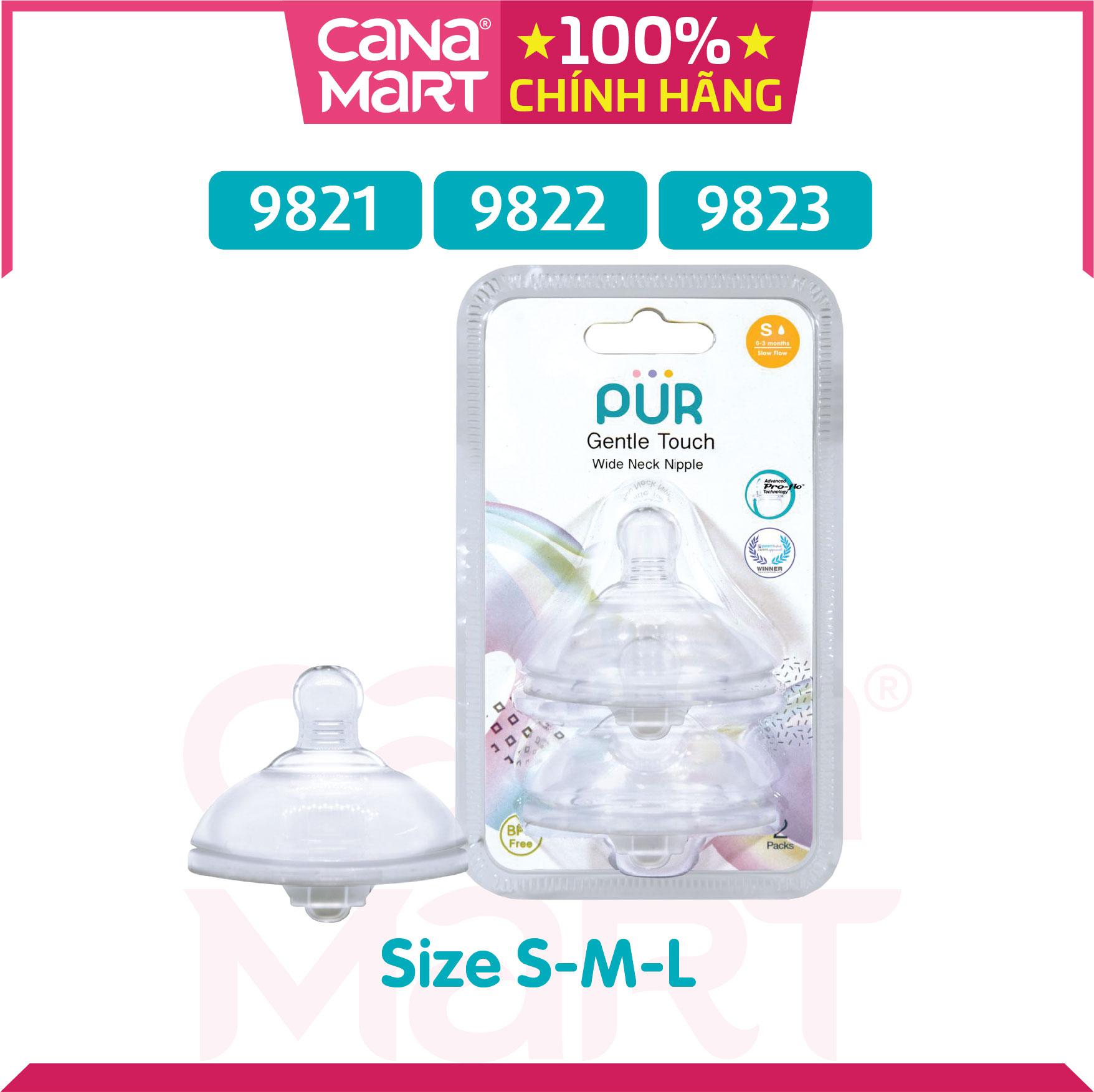 Set 2 núm ti cho bình cổ rộng Pur Milk Safe (size M) (9822)