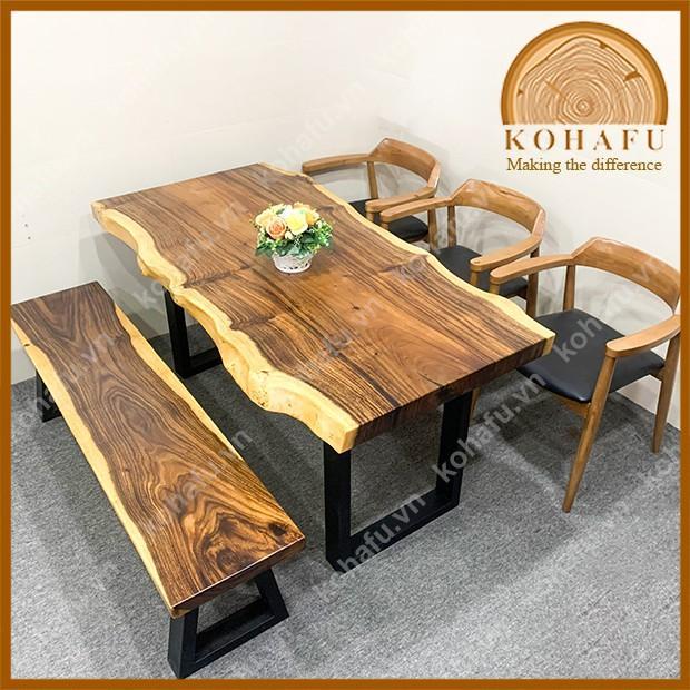 Mặt gỗ Me Tây nguyên tấm, phù hợp làm bàn ăn, bàn phòng khách, gỗ nguyên tấm uốn lượn tự nhiên