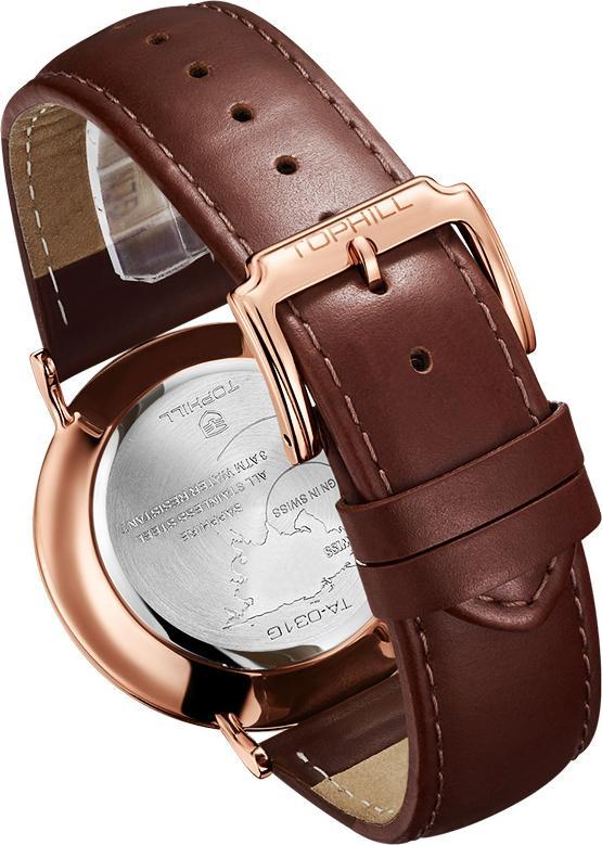 Đồng hồ nam dây da chính hãng Thụy Sĩ TOPHILL TA031G.PZ3657