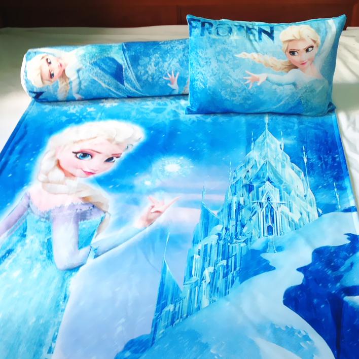 Bộ chăn gối hình Elsa Xanh cho bé 3-5 tuổi