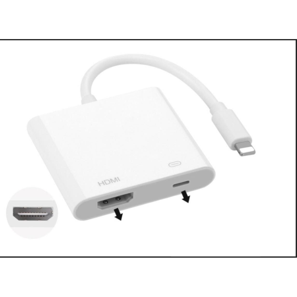 Cáp HDMI cho Iphone, Kết nối máy tính, TV, Có thể sạc pin (Bộ chuyển đổi Iphone sang TV qua HDMI)